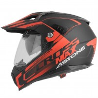 Casco Cross - Enduro- Astone CROSSMAX graphic ROAD NERO-ROSSO FLUO