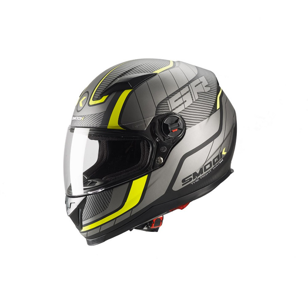 Casco Integrale- SMOOK Casco FF-813 INTEGRALE Nero-Giallo Fluo