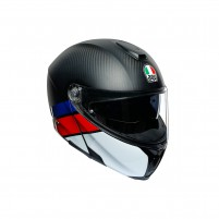 Casco Modulare, AGV SPORTMODULAR MPLK MULTI LAYER CARBON/RED/BLUE