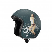 Casco Jet - Demi Jet, BULLSTONE Cafe' Race Helmet Pin Up 2019 Verde Petrolio/Bianco