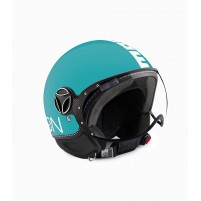 Casco Jet - Demi Jet, Momo Design Fgtr Classic Blu Sea Decal Bianco